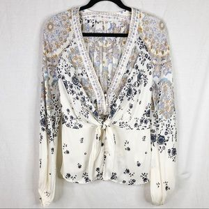 Free People Tie Front Blouse w/ Paisley Print